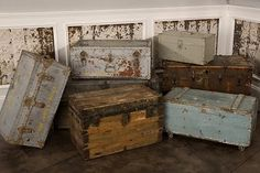 Vintage chests - I have several, including a sea trunk, an old wood tool box and a cedar hope chest. get to figure out what to do with them all. Wooden Trunks, Old Trunks, Trunks And Chests, Vintage Chest, Vintage Trunks, Antique Trunks, Vintage Suitcases, Vintage Luggage, Haiku