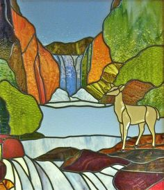 Stained Glass With Deer by thegreatlandoni, via Flickr