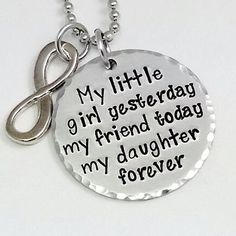"""Hand Stamped """"My daughter, my friend"""" pendant"""