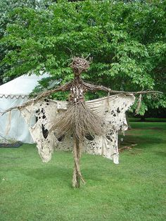 Weird and Wonderful Wood Garden Scarecrow + Faerie..cool and unique for Halloween Decor