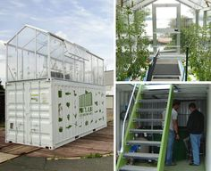 Micro-Farms: an Aquaponics system inside a container, A sustainable project for our cities. Micro-Farms by French designer Damien Chivialle is a prototype of a small urban farm. It consists of a standard shipping container with a greenhouse on top. Urban Agriculture, Urban Farming, Hydroponic Gardening, Organic Gardening, Vertical Hydroponics, Aquaponics Greenhouse, Aquaponics Plants, Agriculture Verticale, Aquaponique Diy