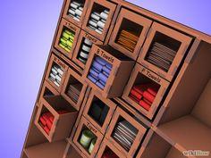 Box Storage System : HOW TO: http://www.wikihow.com/Make-a-Cardboard-Box-Storage-System