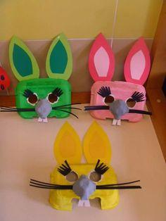 ~Paashaas-masker gemaakt m.b.v. eierdoosje~