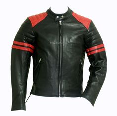 Leather Riding Jacket Black/Red