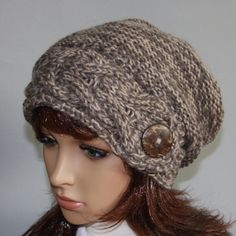 Items similar to Hand knitted warm slouchy beanie for women with a large button. Soft and comfortable ladies hat, perfect for colder seasons! Hand Knitting, Knitting Patterns, Knitting Ideas, Crochet Patterns, Cheap Fashion Jewelry, Slouchy Beanie, Clothes Crafts, Girly Things, Girly Stuff