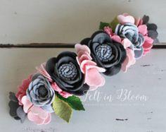 LUXE fieltro Flores corona Morón flor fieltro por shopfeltinbloom