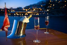 """Cape 4  Charters """"m/y George P""""  Champagne time !!!  #yacht #charter #Greece #champagne #summer"""