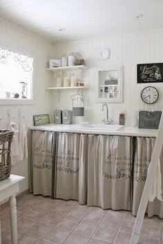 Bajo mesada cortina cuadrille cortinas de tela pinterest for Cortinas vintage