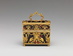 Fashionable in eighteenth-century Europe were so-called nécessaires de poche (pocket necessaries)—small caskets made of precious materials and fitted with tiny implements for grooming, writing, or sewing. Beneath a mirror-lined cover, the interior of this casket contains an inkwell and sand shaker, pen, pencil, clasp knife, cut-glass seal, snuff spoon, ear spoon, bodkin, tweezers, file, two-leaved ivory tablet, and a patch box.