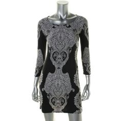 INC NEW B/W Matte Jersey Printed Casual Dress Peti Manufacturer:?INCSize:?PSSize Origin:?USManufacturer Color:?Medusa PaisleyRetail:?$80.00 Condition:?New with tagsStyle Type:?Casual DressCollection:?INC PetiteSilhouette:?A-LineSleeve Length:?Three-Quarter SleevesClosure:?PulloverDress Length:?Knee-LengthTotal Length:?35 Inches Bust Across:?Inches Waist Across:?15 1/2 Inches Hips Across:?Inches Material:?95% Polyester/5% SpandexFabric Type:?Matte JerseySpecialty:?Printed INC International…