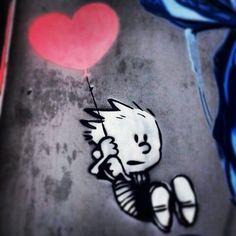 Street art. Graffiti. Art. Urban. Calvin & Hobbs