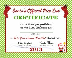 This free printable is great for kids. Santa's Official Nice List Certificate will have them excited to open presents! Christmas Activities, Christmas Printables, Christmas Projects, Christmas Traditions, Christmas Ideas, Holiday Ideas, Christmas Images, Christmas Eve Box For Kids, Christmas Eve Pictures