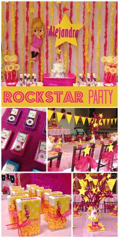An awesome pink and yellow girly Rockstar birthday party with glittery favors and starry treats!  See more party planning ideas at CatchMyParty.com!