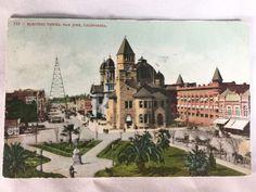 Vintage San Jose Electric Light Tower postcard postmarked 1910, COLLAPSED 1915