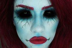 maquillage Halloween visage-femme-lugubre