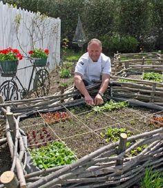 Wattle edging around a square foot garden.