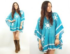 Vtg 70s Floral Gauze Ethnic Embroidered Boho Festival Tunic Caftan Mini Dress