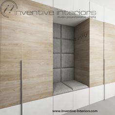 Projekt przedpokoju Inventive Interiors - zabudowa z siedziskiem w przedpokoju Hall Design, Loft Design, House Design, Hall Wardrobe, Wardrobe Design, Entry Foyer, Entrance Hall, Vestibule, Moderne Pools