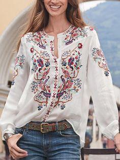 wotoba Floral 1 White Women Blouses Cotton-Blend Casual V Neck Long Sleeve Daily Blouses – Wotoba Cotton Blouses, Shirt Blouses, Denim Shirts, Tunic Shirt, Denim Jeans, Floral Tops, Estilo Hippie, Bohemian Blouses, Look Boho