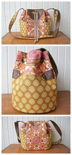 The Dahlia Drawstring Bucket bag is a cool and trendy looking medium sized bag. The bag stays closed with a drawstring closure. It has two exterior side pockets, one interior slip pocket and one interior zippered pocket. On the exterior of the bag, there