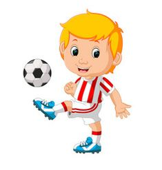 Boy playing soccer vector image on VectorStock Sports Day Kindergarten, Free Vector Images, Vector Free, Soccer Boys, Boys Playing, Comic Strips, Cute Boys, Clip Art, Cartoon