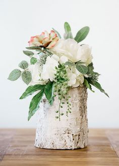 Create simple rustic centerpieces for your DIY wedding with affordable fake flowers and plants from Afloral.com. #budgetwedding #rusticwedding #weddingflowers Winter Wedding Receptions, Winter Wedding Centerpieces, Outdoor Wedding Decorations, Wedding Themes, Wedding Ideas, Wedding Venues, Birch Centerpieces, Wedding Ceremony, Birch Decorations