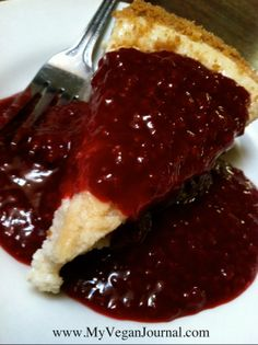 Vegan Cheesecake with Fresh Raspberry Sauce ~ Follow Your Heart <3 Canoga Park, California