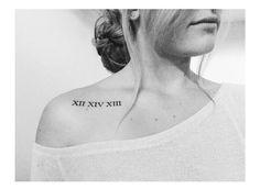 Roman numeral tattoo- Wedding date under the collar bone - Roman numeral tattoo. - Roman numeral tattoo- Wedding date under the collar bone – Roman numeral tattoo- Wedding date un - Colar Bone Tattoo, Collar Tattoo, Tattoo Neck, Roman Numeral Tattoos, Roman Numerals, Music Tattoos, Body Art Tattoos, Tatoos, Trendy Tattoos