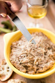 Pork rillettes - A classic French charcuterie spread made from pork. Great with a glass of wine or spread on a sandwich. An authentic, rustic French treat! Appetizer Dips, Appetizer Recipes, French Appetizers, Charcuterie Spread, French Food, French Dishes, Antipasto, Original Recipe, French Tips