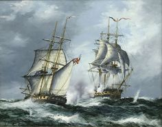 HMS Java battles the USS Constitution Nautical Artwork, Uss Constitution, Old Sailing Ships, Us Navy Ships, Ship Paintings, Naval History, Wooden Ship, Tug Boats, Armada