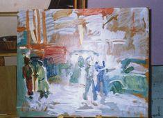 People in street on easel 2003-4
