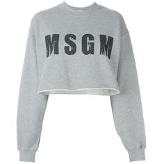 MSGM Cropped Logo Print Sweatshirt ($65) ❤ liked on Polyvore featuring tops, hoodies, sweatshirts, shirts, sweaters, grey, cut-out crop tops, cropped sweatshirt, gray crop top and gray top