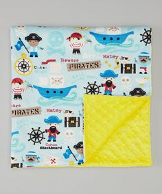 Loving this Yellow Pirate Minky 26'' x 30'' Blanket on #zulily! #zulilyfinds