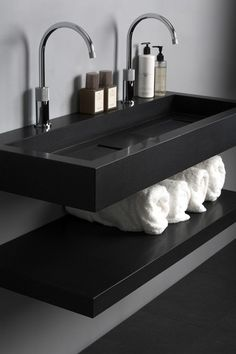 #bathroom design #interiors #black and white #sinks #style #inspiration