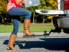 The Elephant Stand combines a ball mount and truck step in one product. Sliding into the basic hitch receiver assembly on any truck, the stand can sit under the truck when not in use and swivel around and lock in place when you need a truck step to get into the bed.   See the video.