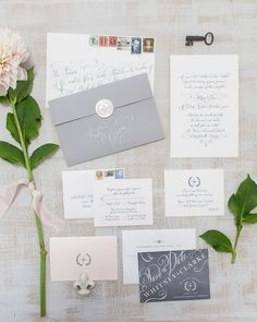 Chic Gray and White Calligraphy Wedding Invitation Suite   Patricia Lyons Photography   See More! http://heyweddinglady.com/beach-chic-white-silver-gray-hamptons-wedding-inspiration/