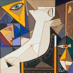 Painting is silent poetry, and poetry is painting that speaks. Cubist Paintings, Art Deco Paintings, Picasso Cubism, Cubism Art, Modern Art, Contemporary Art, Art Academy, Art Plastique, Figure Painting