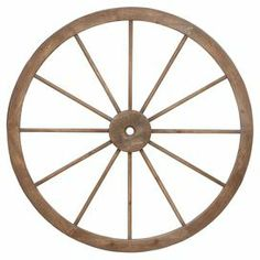 """Lean this charming wood and metal wagon wheel decor against your living room wall for a touch of country style.   Product: Wagon wheel decorConstruction Material: Metal and woodColor: NaturalDimensions: 45"""" Diameter"""