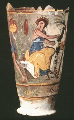 Roman glass painted goblet, 1st century A.D. Afghanistan, Begram, depicting figures harvesting dates. National museum of Afghanistan, Kabul
