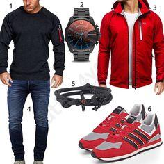 Sportliches Herrenoutfit mit grauem Amaci&Sons Pullover, Diesel Armband, roter Bolf Softshelljacke und Adidas Sneakern, Vikings Armband und Jack & Jones Jeans. #outfit #style #herrenmode #männermode #fashion #menswear #herren #männer #mode #menstyle #mensfashion #menswear #inspiration #cloth #ootd #herrenoutfit #männeroutfit