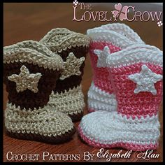 Ravelry: Toddler Boot Scoot'n Boots pattern by Elizabeth Alan Cowboy Crochet, Crochet Baby Boots, Booties Crochet, Crochet Slippers, Love Crochet, Crochet Hats, Baby Shoes Pattern, Baby Patterns, Knitting Patterns Free