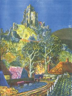 Corfe Castle, from Dorset: the Isle of Purbeck Rena Gardiner Landscape Art, Landscape Paintings, Corfe Castle, Collage Illustration, Art Pages, Beautiful Paintings, Urban Art, All Art, Painting & Drawing