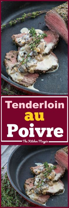 This Skillet Beef Tenderloin Roast au Poivre & Mushrooms takes the classic French Steak au Poivre and uses a pepper and salt encrusted tenderloin roast. Frugal Meals, Easy Meals, Frugal Recipes, Brunch Recipes, Easy Dinner Recipes, Drink Recipes, French Steak, Steak Au Poivre