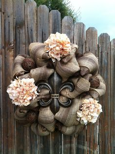 Deco Mesh Fleur de Lis Wreath Chocolate Brown Cream Flowers Jeweled Ornaments Home Decor