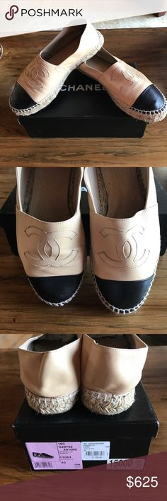 Chanel double soled Espadrilles. Size 40/10. Excellent condition. Beige/black. Double sole. Just posted a black pair too in closet. CHANEL Shoes Espadrilles