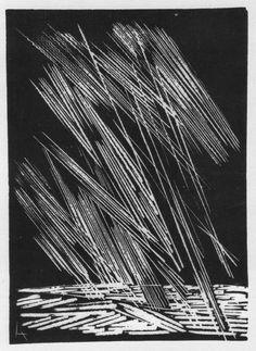 "LIVIO ABRAMO - ""As chuvas - Paraguai"" - xilogravura 1968"