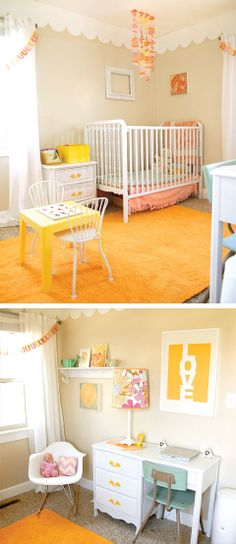 Chic Yellow Nursery - So cute. Also a little desk so mommy can get some things done while baby is sleeping. Love the sunny yellow hues.