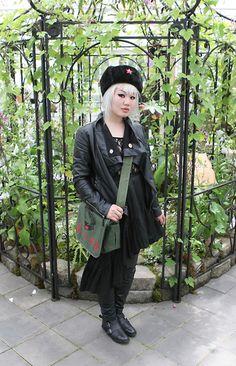 Mossimo Oversized Collar Pleather Moto Jacket, Mao Bag, Topshop Lace Bodysuit, Black Peace Now Asymmetrical Black Skirt, Aldo Smoots Boots, Communist Winter Hat