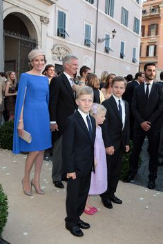 Queen Mathilde and King Philippe and their children at the wedding of Prince Amedeo of Belgium and Elisabetta Maria Rosboch Von Wolkenstein Royal Weddings, Italy Wedding, Santa Maria, Wedding Images, Gabriel, Royalty, Victoria, Clothes, Rome Italy
