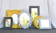 Yellow Grey/Gray White Ornate Upcycled 6 Mirrors by BeautiSHE
